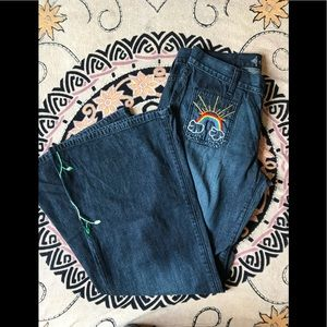 Hand Embroidered Rainbow Bell Bottoms